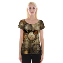 Wonderful Steampunk Design With Clocks And Gears Women s Cap Sleeve Top by FantasyWorld7