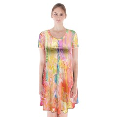 Watercolour Watercolor Paint Ink Short Sleeve V-neck Flare Dress by Zeze