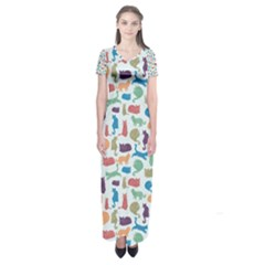 Blue Colorful Cats Silhouettes Pattern Short Sleeve Maxi Dress by Contest580383