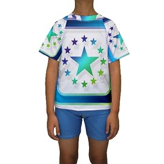 Icon Star Europe Symbols Online Kids  Short Sleeve Swimwear by Zeze