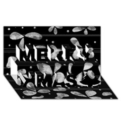 Black And White Floral Abstraction Merry Xmas 3d Greeting Card (8x4) by Valentinaart