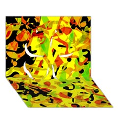 Fire Clover 3d Greeting Card (7x5) by Valentinaart