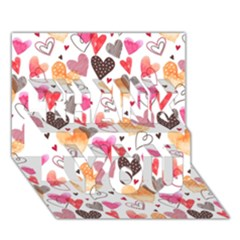 Colorful Cute Hearts Pattern Thank You 3d Greeting Card (7x5) by TastefulDesigns