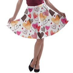 Colorful Cute Hearts Pattern A Line Skater Skirt by TastefulDesigns