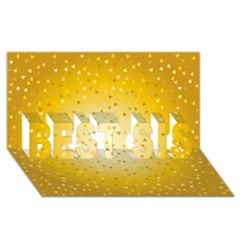 Gold Hearts Pattern Best Sis 3d Greeting Card (8x4) by theimagezone
