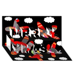 Playful Airplanes  Merry Xmas 3d Greeting Card (8x4) by Valentinaart