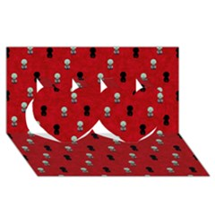 Cute Zombie Pattern Twin Hearts 3d Greeting Card (8x4) by AnjaniArt