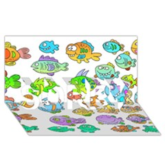 Fishes Col Fishing Fish SORRY 3D Greeting Card (8x4) by AnjaniArt
