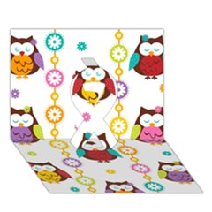 Owl Ribbon 3d Greeting Card (7x5) by AnjaniArt