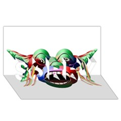 Futuristic Funny Monster Character Face Sorry 3d Greeting Card (8x4) by dflcprints