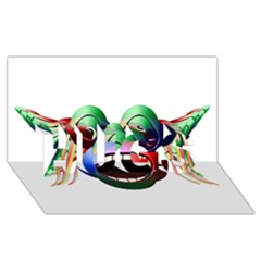 Futuristic Funny Monster Character Face HUGS 3D Greeting Card (8x4) by dflcprints