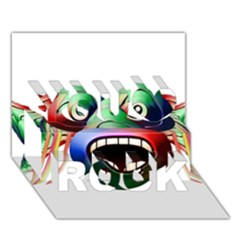 Futuristic Funny Monster Character Face You Rock 3d Greeting Card (7x5) by dflcprints