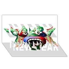 Futuristic Funny Monster Character Face Happy New Year 3d Greeting Card (8x4) by dflcprints