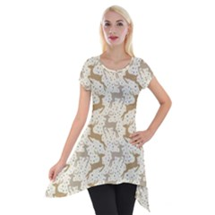 Paper Gift Deer Short Sleeve Side Drop Tunic