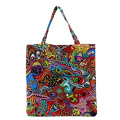Moster Mask Grocery Tote Bag by AnjaniArt