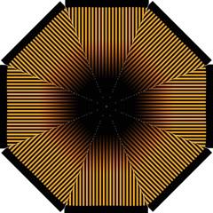 Elegant Black Brown Design With Yellow Golden Strips  Straight Umbrellas by GabriellaDavid