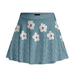 Cloudy Sky With Rain And Flowers Mini Flare Skirt by CreaturesStore