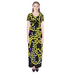 Yellow Fantasy Short Sleeve Maxi Dress by Valentinaart