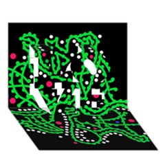 Green fantasy LOVE 3D Greeting Card (7x5) by Valentinaart