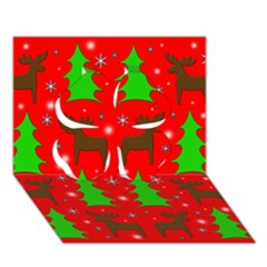 Reindeer And Xmas Trees Pattern Clover 3d Greeting Card (7x5) by Valentinaart