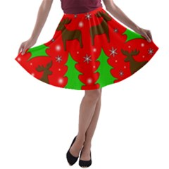 Reindeer and Xmas trees pattern A-line Skater Skirt