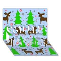 Reindeer And Xmas Trees  You Are Invited 3d Greeting Card (7x5) by Valentinaart