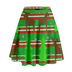 Christmas Trees And Reindeer Pattern High Waist Skirt by Valentinaart