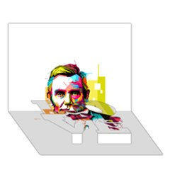 Abraham Lincoln Love Bottom 3d Greeting Card (7x5) by bhazkaragriz