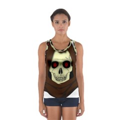 Evil Hooded Skull Vector Clipart Women s Sport Tank Top  by Zeze