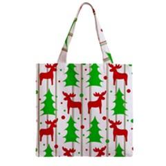 Reindeer Elegant Pattern Zipper Grocery Tote Bag by Valentinaart