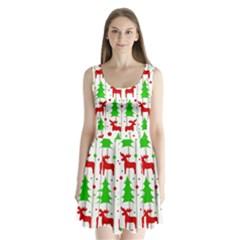 Reindeer Elegant Pattern Split Back Mini Dress  by Valentinaart