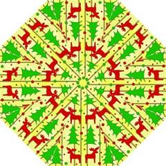 Xmas Reindeer Pattern   Yellow Hook Handle Umbrellas (large) by Valentinaart