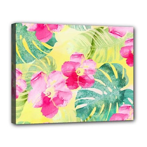 Tropical Dream Hibiscus Pattern Canvas 14  X 11  by DanaeStudio