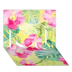 Tropical Dream Hibiscus Pattern I Love You 3d Greeting Card (7x5) by DanaeStudio