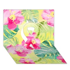 Tropical Dream Hibiscus Pattern Ribbon 3d Greeting Card (7x5) by DanaeStudio