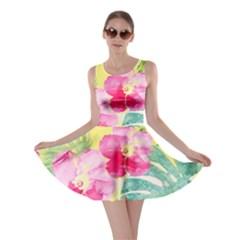 Tropical Dream Hibiscus Pattern Skater Dress by DanaeStudio