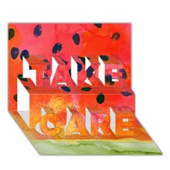 Abstract Watermelon Take Care 3d Greeting Card (7x5) by DanaeStudio