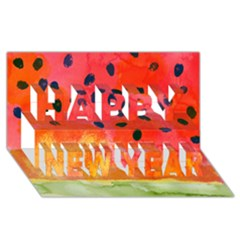 Abstract Watermelon Happy New Year 3d Greeting Card (8x4) by DanaeStudio