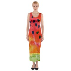 Abstract Watermelon Fitted Maxi Dress by DanaeStudio