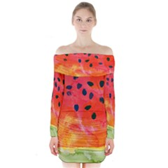 Abstract Watermelon Long Sleeve Off Shoulder Dress by DanaeStudio