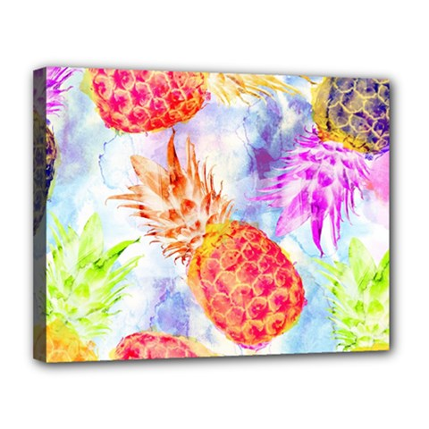 Colorful Pineapples Over A Blue Background Canvas 14  X 11  by DanaeStudio
