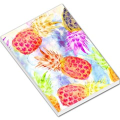 Colorful Pineapples Over A Blue Background Large Memo Pads by DanaeStudio