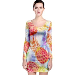 Colorful Pineapples Over A Blue Background Long Sleeve Bodycon Dress by DanaeStudio