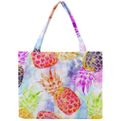 Colorful Pineapples Over A Blue Background Mini Tote Bag by DanaeStudio