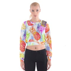 Colorful Pineapples Over A Blue Background Women s Cropped Sweatshirt by DanaeStudio
