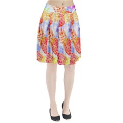 Colorful Pineapples Over A Blue Background Pleated Skirt by DanaeStudio