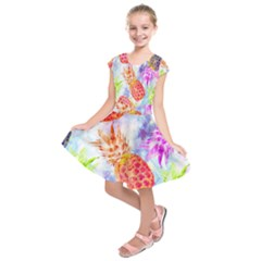 Colorful Pineapples Over A Blue Background Kids  Short Sleeve Dress by DanaeStudio