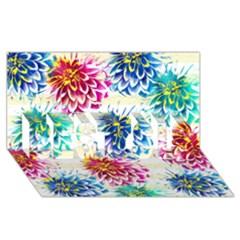 Colorful Dahlias Best Sis 3d Greeting Card (8x4) by DanaeStudio