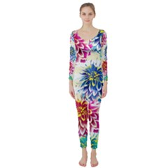 Colorful Dahlias Long Sleeve Catsuit by DanaeStudio
