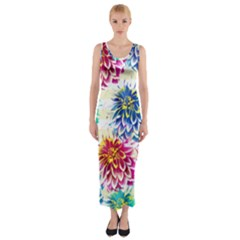 Colorful Dahlias Fitted Maxi Dress by DanaeStudio